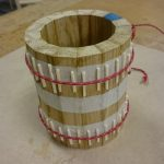 An interesting low tech gluing method for this oak tankard.