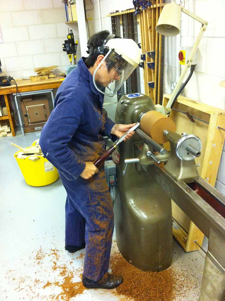 Clare on the Lathe at Multi Skills Workshop